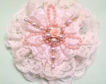 Flower Accessories, Rosette, Shabby Chic, Beads, Stickpins, Home Decor, Hat Flower, Mixed Media, Lace Flower, DIY Brooch, Embellishment