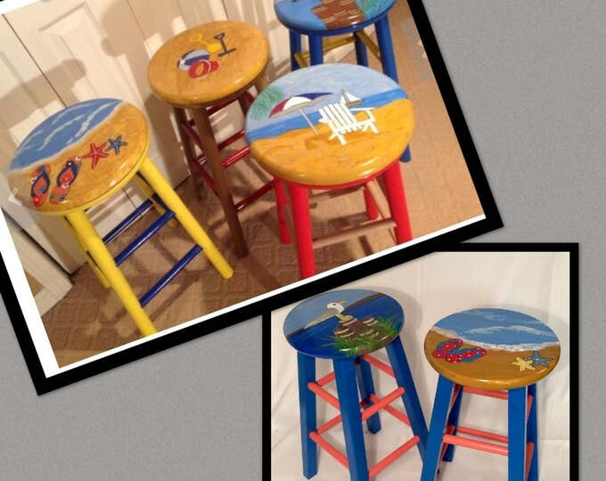 Whimsical Painted Furniture, Painted bar stool, Nautical painted stool