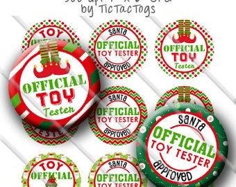 Official Toy Tester Christmas Sayings Bottle Cap Images 1 Inch Circles Digital JPG - Instant Download - BC574