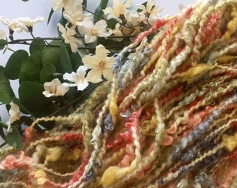 Hand spun art yarn-handspun mohair curls-handspun art yarn mohair curls- Lock spun yarn-multi colored yarn- hand spun yarn