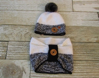 Crochet Hat For Women with Matching Cowl - Ready to Ship in Adult Size - White and Black - Buttons - Faux Fur Pom Pom - Custom Made