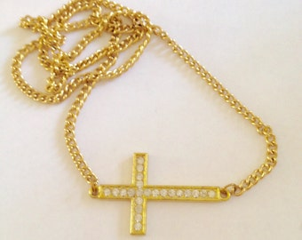 CRYSTAL Sideways CROSS Necklace