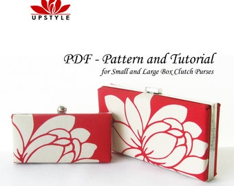 PDF Sewing Pattern -  Box Clutch Purse Minaudiere - No Sew Method - Includes Pattern and Tutorial for Small and Large Box Frames by UPSTYLE