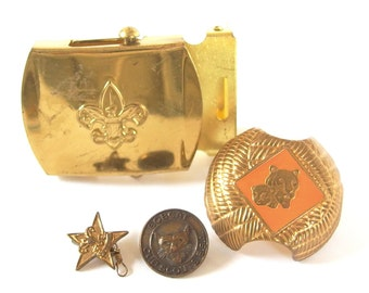 Vintage Boy Scout Accessories - Neckerchief Slide, Buckle, Pins