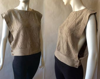 MOVING 4 GRADSCHOOL SALE 1980's soft free fit sweater vest / top, by Janzten. light brown patterned knit with seed pearls, about large
