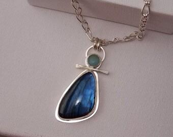 Labradorite, Larimar and Sterling silver pendant,handmade Sterling Silver Chain, Handmade
