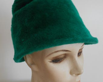 Vintage Ann Fogarty Green Faux Fur Cloche / 60's Structure Hat Size Small 22""