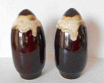 vintage Hull Brown drip glaze S & P Shakers