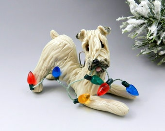 Soft Coated Wheaten Terrier Christmas Ornament Figurine Lights Porcelain