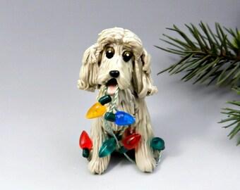 Cocker Spaniel Buff Christmas Ornament Figurine Lights Porcelain