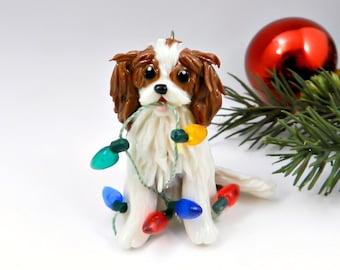 Cavalier King Charles Spaniel Blenheim Christmas Ornament Figurine Porcelain