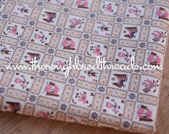 Fun Folk Art Dutch Squares- Vintage Fabric Roosters Horses Castles European Pink 36 in wide