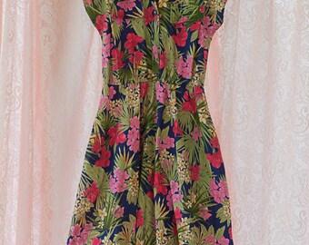 Vintage Dress - Island 80s Floral Ferns Tropical