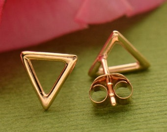 18K Rose Gold Plated Sterling Silver Equilateral Triangle Post Earrings - Insurance Included