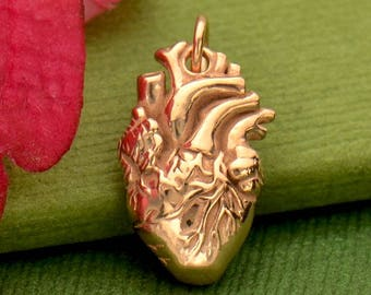 Your Heart is the Most Important Necklace No. 1 - 18k Rose Gold Plated Sterling Silver Anatomical Heart Charm - Insurance Included