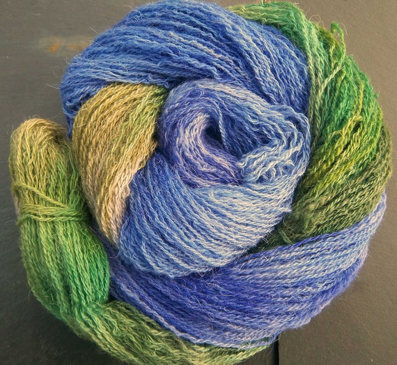 Hand Dyed Yarn  Elvincraft Sheep Light 4ply, Fingering Woodland Bluebells