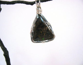 Sterling Silver Wire Wrapped Boulder Opal Pendant RKS534