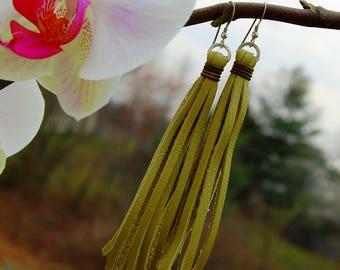 Lime Green Leather Tassel Earrings