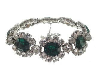 Bogoff Vintage Emerald Bracelet, Wide Oval Rhinestone Cuff, Designer 1940s Fine Vintage Jewelry, Emerald Vintage Jewelry