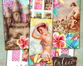Printable, Domino Collage Sheet, Summer Paradise, 1x2 Inch Images, Domino Images, Summer, Beaches, Pinups, Printable Paper, image Sheet