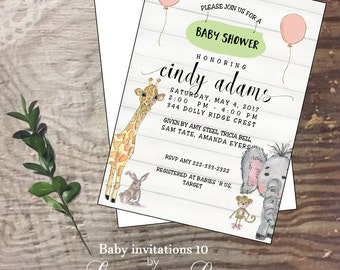 Baby shower invitation new baby hand drawn watercolor animal  shower party welcome announcement