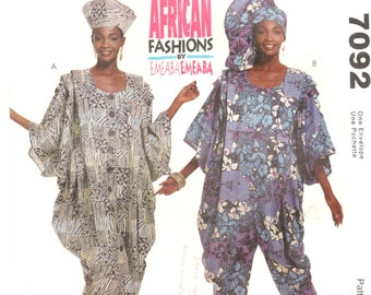 McCalls 7092 Misses Authentic African Dress Jumpsuit Pattern EMEABA Womens Sewing Pattern Size Sm Md LG Bust 30 - 44 UNCUT