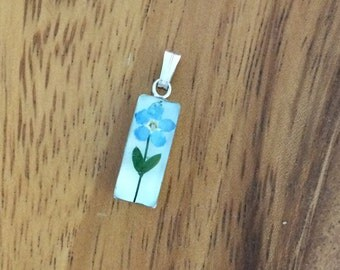 Forget Me Not Pendant - Real flower preserved in resin - small rectangle - memorial, wildflower, blue, simple, sweet, romantic, Alaska,