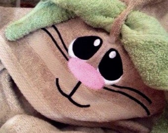 BUNNY Hooded Swim or Bath Towel . . . #embroideredbunnyface . . . #bathtowelandwashcloth . . . #greatEasterbasketgift