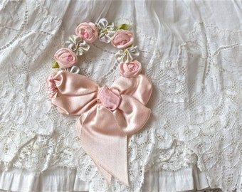 Antique French Beautiful Silk Ribbon Work