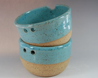 Pottery Rice Bowl Set, Turquoise Noodle Bowl! Chopsticks Handmade Serving