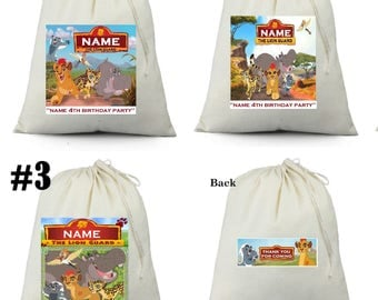 12  personalized Disney Lion Guard Kion Birthday Party Favor Candy Loot Treat Drawstring Bags
