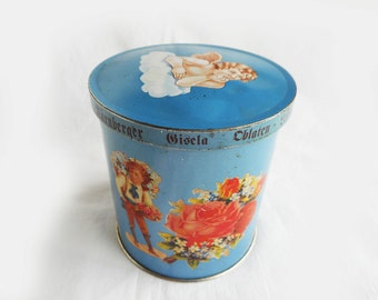 """Shabby Victorian Litho Canister Tin 4"""" Blue Pink White Silver Reproduction Vintage Wicklein German Cookie Tin Cherub Roses Girls with Flower"""