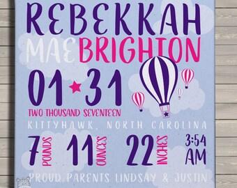 Birth announcement print on canvas custom hot air balloon birth announcement poster on wood frame HABBC