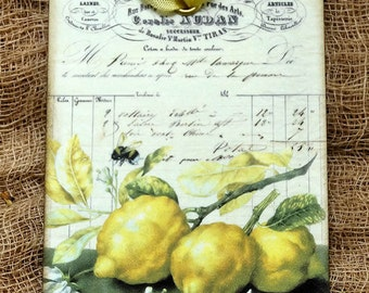 French Lemons On A Branch Gift or Scrapbook Tags or Magnet #464