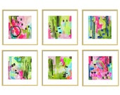 Green and Pink Abstract Art Prints Set of 6, Watercolor Print Set, Pink Gallery Wall, Wall Decor, Office Wall Art, Set of Prints, Giclee