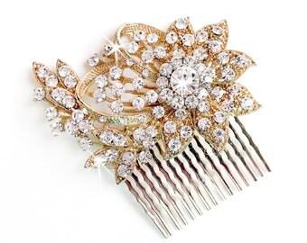 Gold Hair Comb - Vintage Style Hair Piece - Bridal Comb - Wedding Hair Comb - Rhinestone Brooch - Wedding Hairpiece
