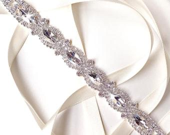 Headband - Marquise Crystal Bridal Belt Headband or Sash - Rhinestone Hairpiece - Skinny Wedding Dress Belt - Flower Girl Belt - Bridal