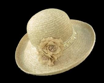 """Women's Kettle Style Winter Hat, Race Day Hat, Tea Party Hat, Easter Hat, Soft Upturn Hat in Tonal  Ivory - """"Chanterelle Beige"""""""
