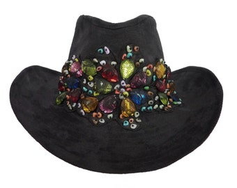 """Cowgirl Hat, Race Day Hat, Cowgirl Birthday, Hoedown, Country Western Style Hat in Black Suede with Jewel Tone Bling - """"Country Chic"""""""