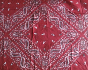 Vintage 1950s Cotton Handkerchief Fabric - Red Black White