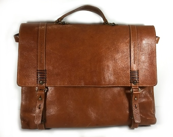 """Vintage Italian Brown Leather Attache/Satchel, """"Robe di Firenze"""", Brass Hardware, By Josi, Made in Italy"""