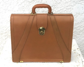 Classic Vintage Pecan Brown Leather Briefcase, Satchel or Portfolio, Brass Hardware, By Prescott Products, Deep Buff Cowhide Leather, 1965