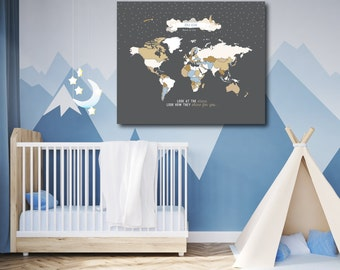 Kid's World Map, Nursery Map, World Map Wall Hanging, World Map Poster // Art Print or Canvas//N-I07 -1PS AA1