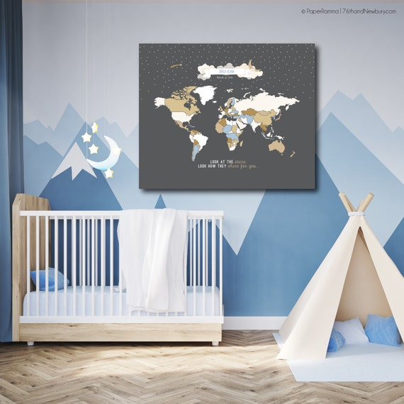 Kids world map nursery map world map wall hanging like this item gumiabroncs Image collections