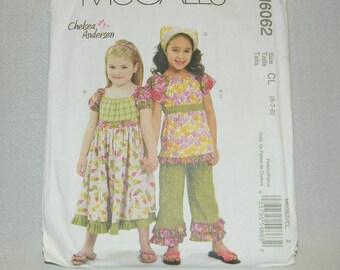 Uncut McCall's Pattern 6062 Size 6-8 GirlsTop, Dress, Capri Pants and Kercief