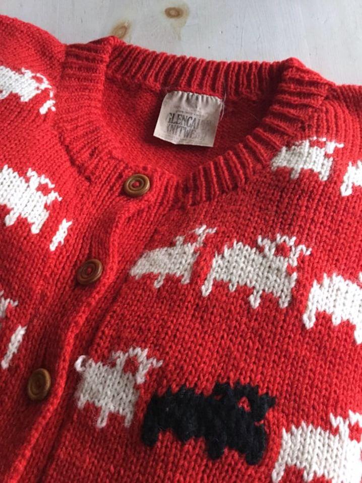 Princess Diana Black Sheep Cardigan Sweater Virgin Wool New