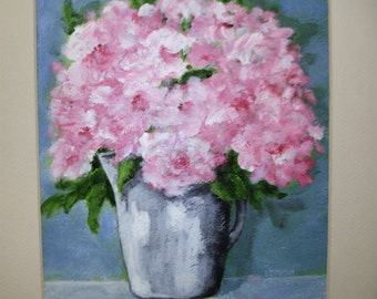 Pink shabby ROSES Painting -Still Life - Flowers in Silvery Pitcher - Vintage Distressed Frame - Acrylic on paper -Shabby Cottage flower art