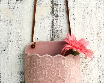 pink wall vase for flowers