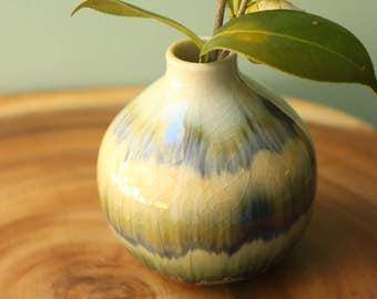 olive and navy Bud vase
