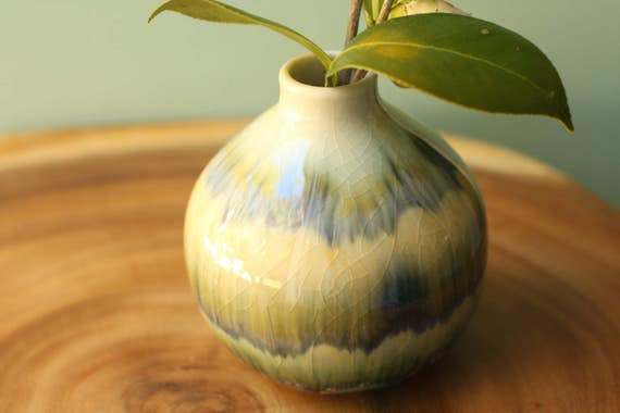 olive and navy Bud vase